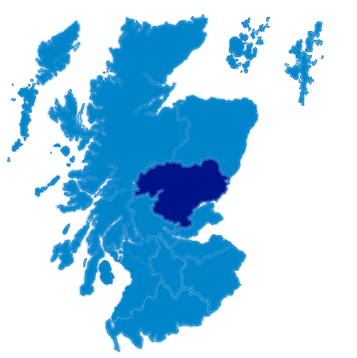 A map of Scotland with Tayside Highlighted